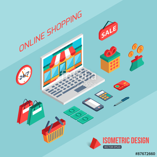 500x500 E Commerce And Online Shopping. Flat 3d Isometric Design Stock