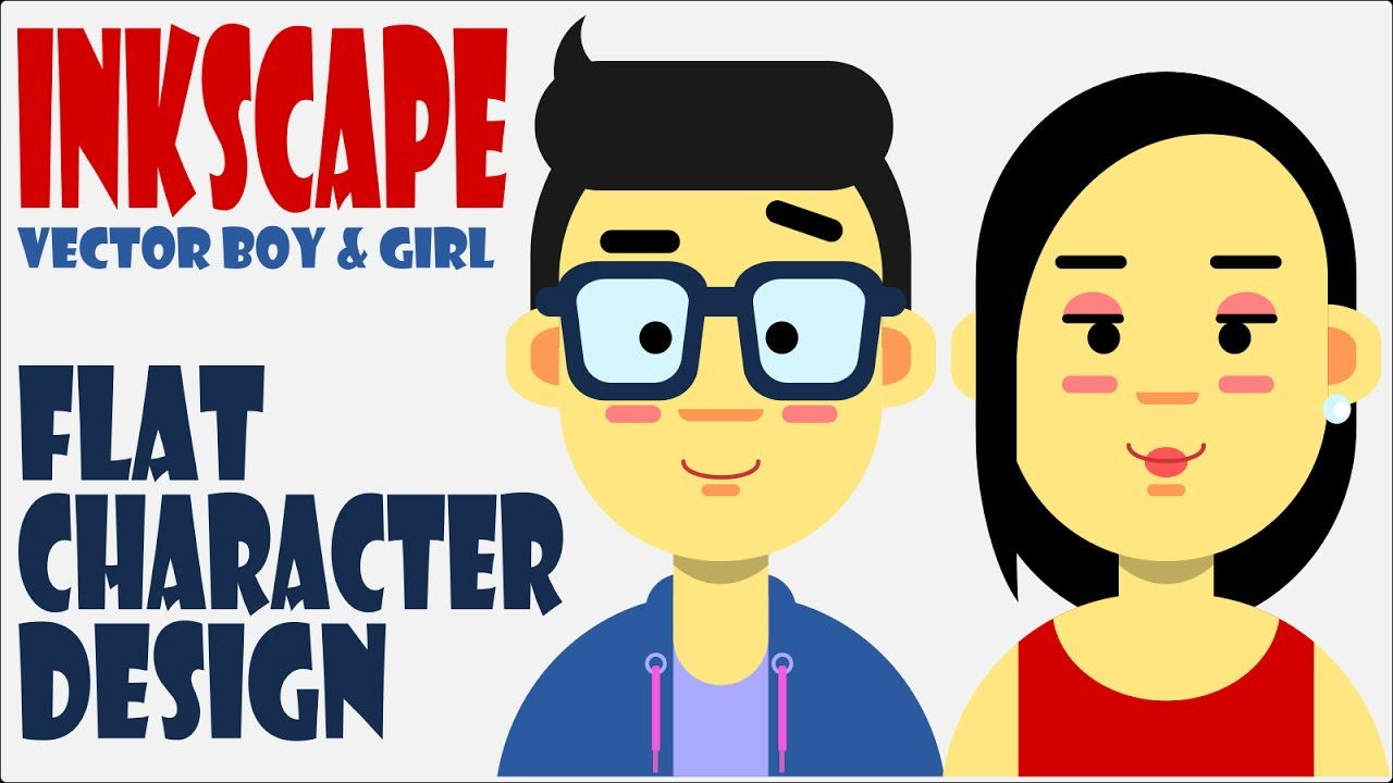 1280x720 Easy Flat Character Design Using Inkscape Vector Boy And Girl