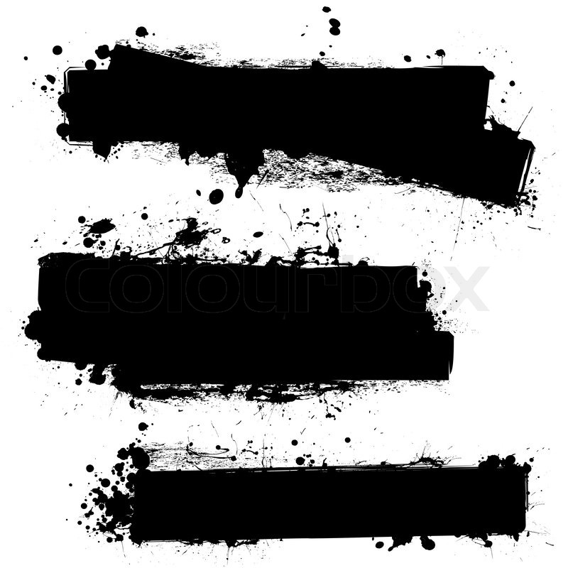 800x800 Three Ink Splat Banners With Grunge Effect In Black Stock Vector