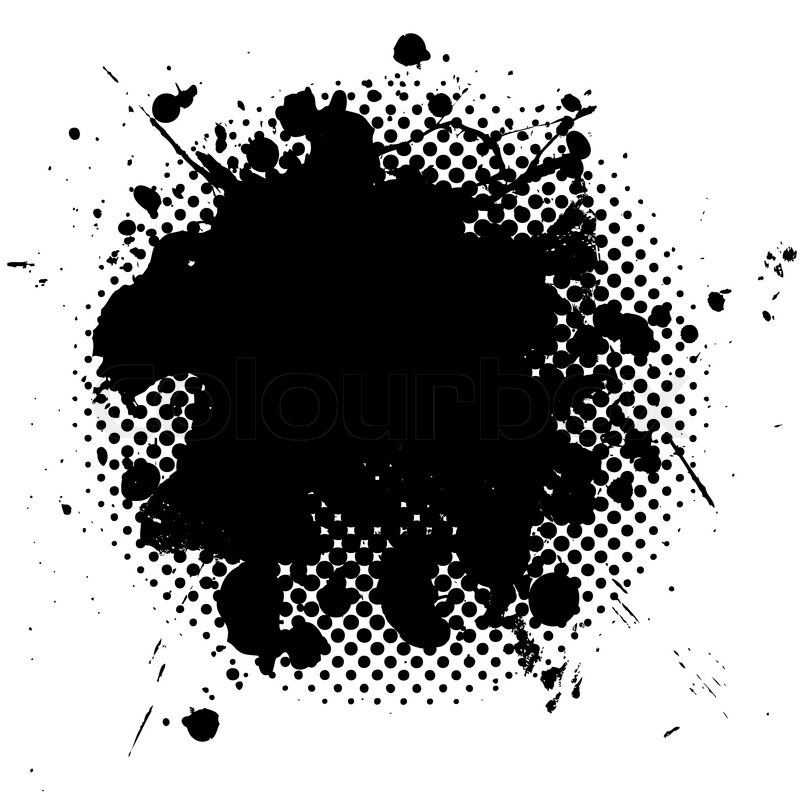 800x800 Black Ink Splat With Grunge Effect And Halftone Dot Fade Stock