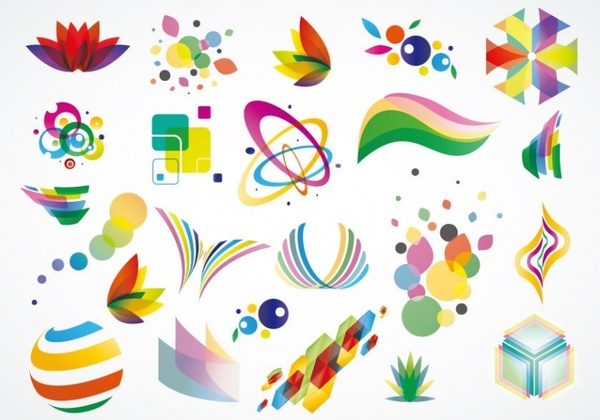 600x420 Colorful Logo Design Elements Vector Set Free Vector In Adobe