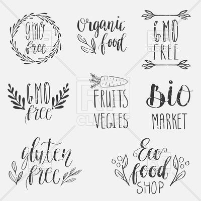 400x400 Eco, Nature, Vegan, Bio Food Logos. Handwritten Lettering. Vector
