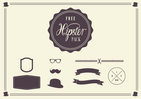 600x424 Free Vintage Hipster Elements Pack Vector Eps Ian Barnard