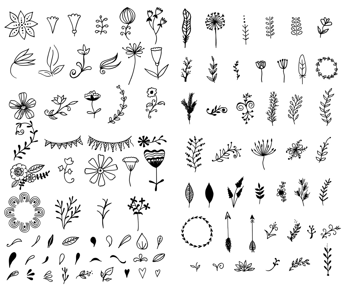 1160x967 Hand Drawn Vector Elements Kit Amp 15 Bonus Logos
