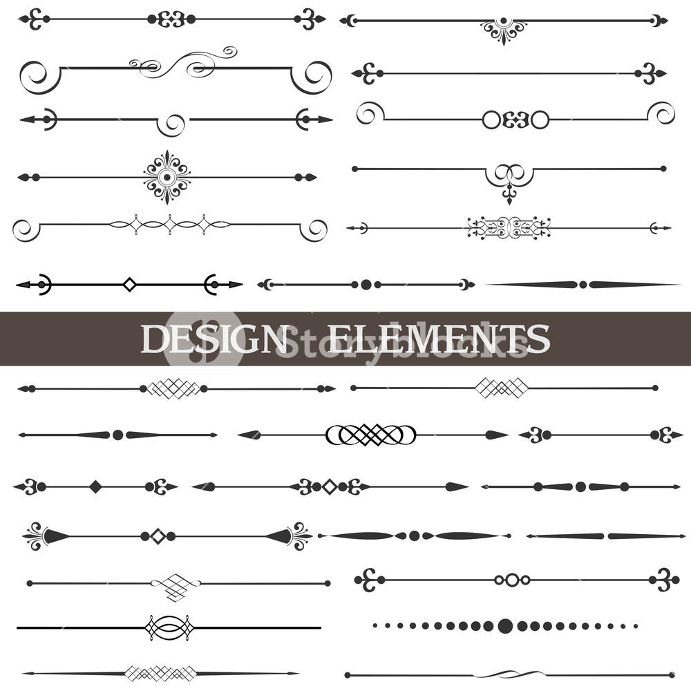 1000x1000 Vector Set Of Calligraphic Design Elements