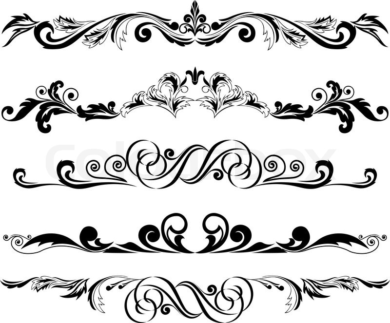 800x663 Vector Illustration Set Of Decorative Horizontal Elements For