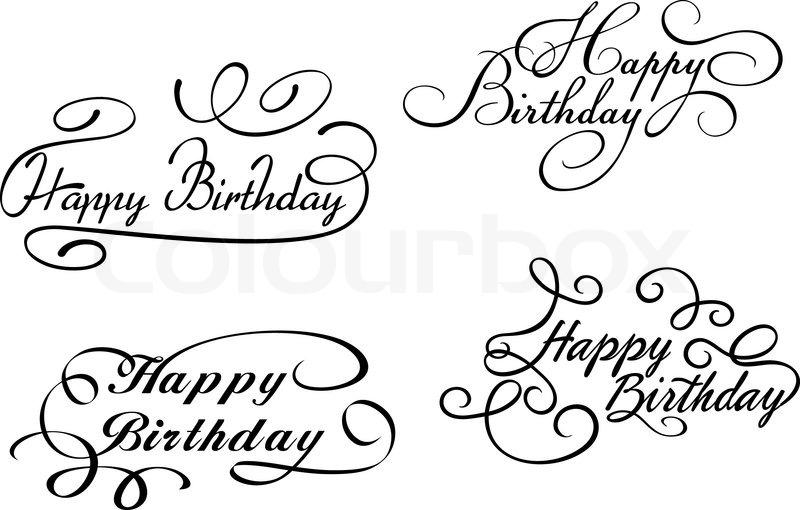 800x510 Happy Birthday Calligraphic Embellishments Stock Vector Colourbox