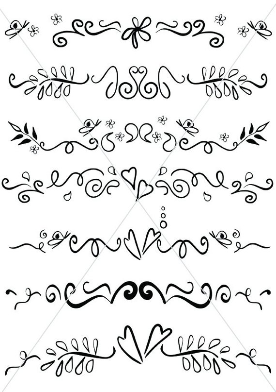 570x807 Svg Text Dividers Whimsical Lines Flourishes Ornamental Etsy