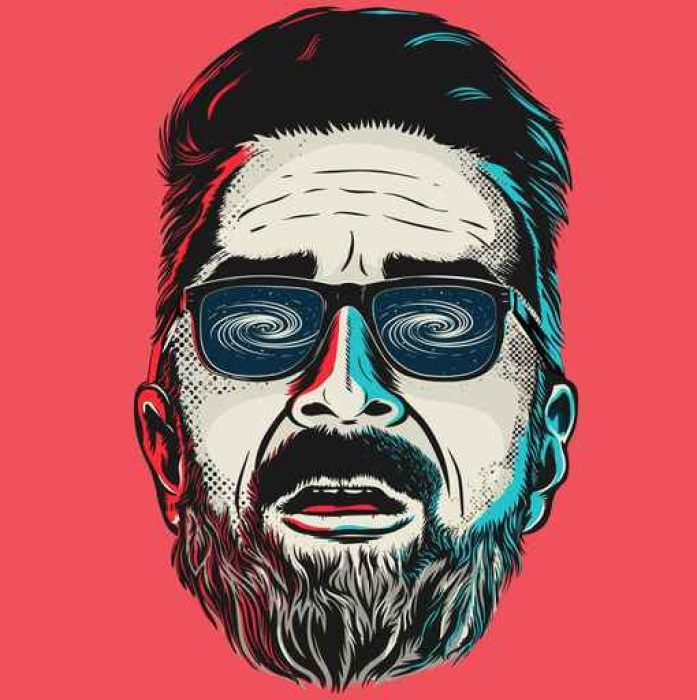 697x700 Hand Drawn Vector Face Of A Hipster Man With Glasses. Wall Mural