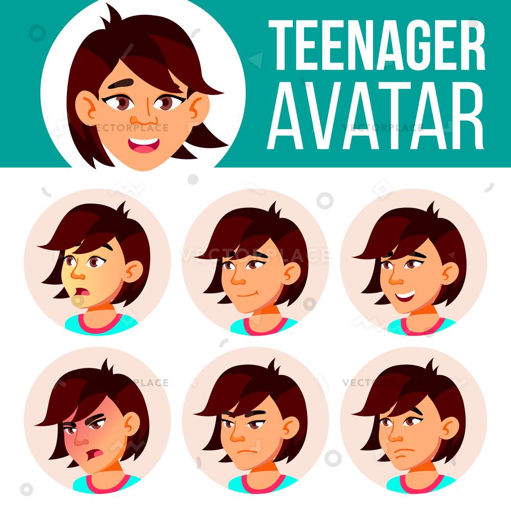 1000x1000 Asian Teen Girl Avatar Set Face Vector Illustration 76424