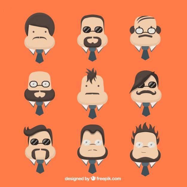 626x626 Character Men Faces Vector Free Download