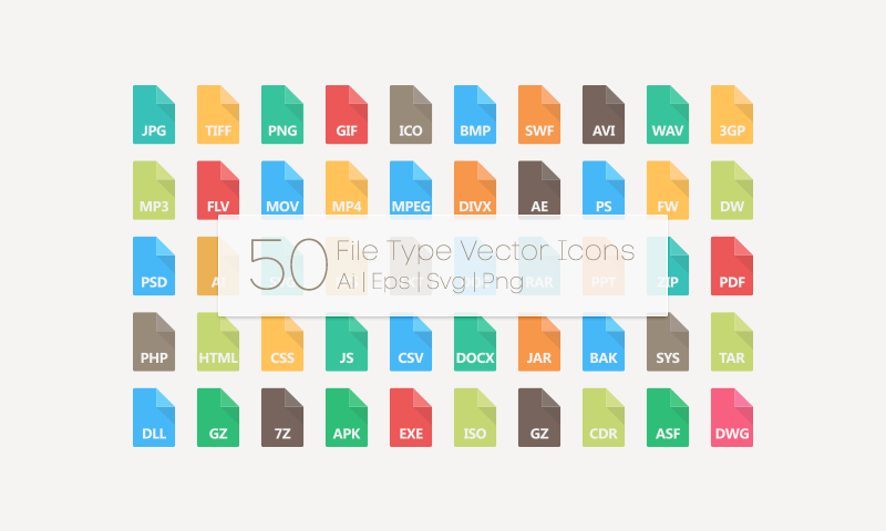 800x480 Free Download 50 File Type Vector Icons