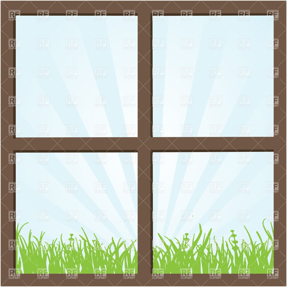 1200x1200 Summer Field And Sky Seen Through The Window Download Royalty Free