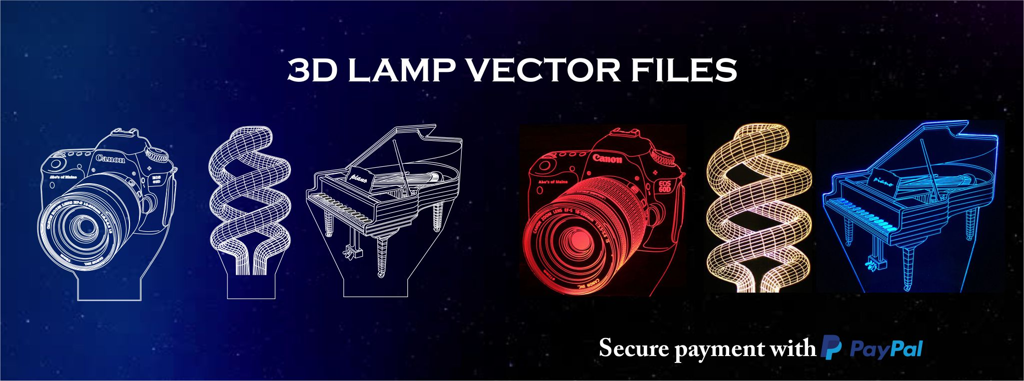 2049x763 3d Lamp Designs Amp 3d Illusion Lamp Plan Vector File Amp 3d Illusion