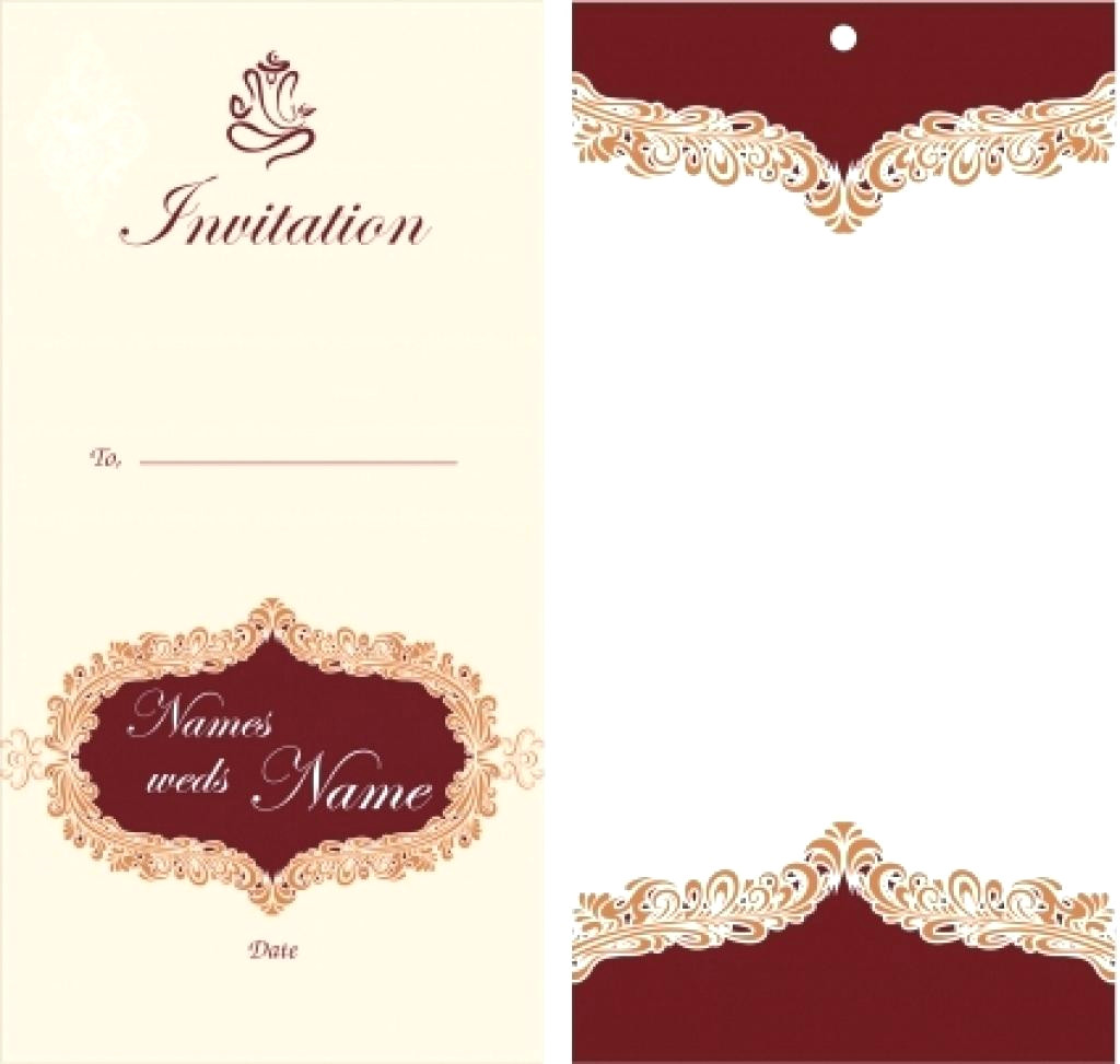 1024x973 Invitation Card Template With Curly Border And Damask Background