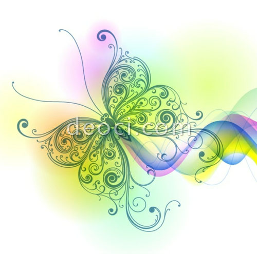 500x495 Abstract Colorful Butterfly Line Art Vector Eps File Free Download