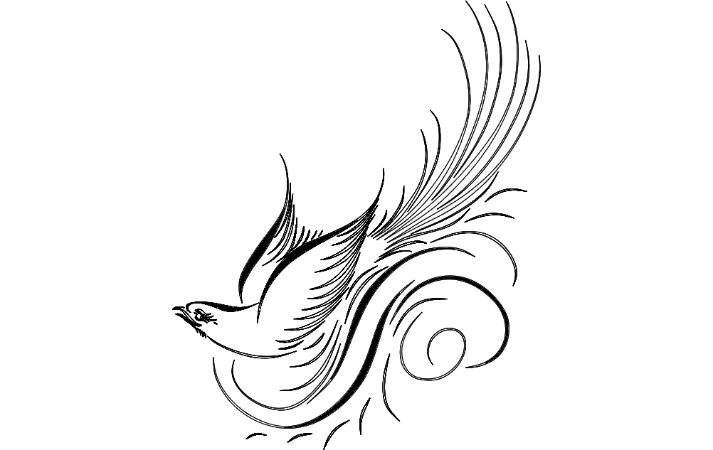 1002x633 Calligraphy Bird Vector Dxf File Free Download