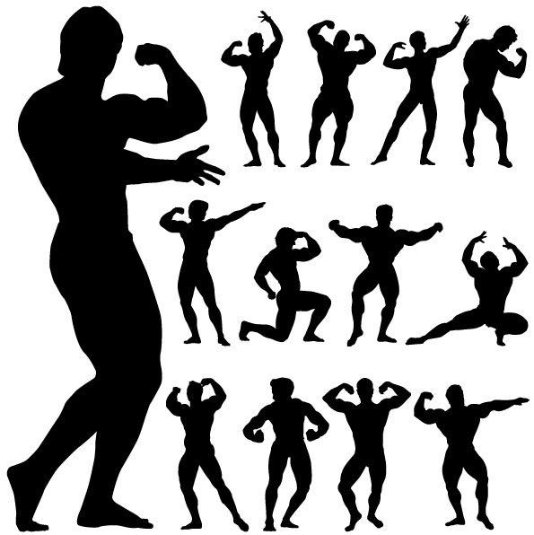 595x596 Fitness Person Action Silhouette Vector Free Vector 4vector