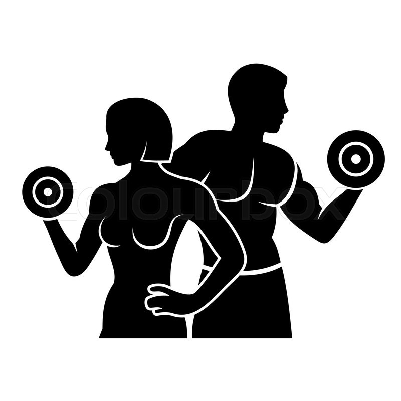 800x800 Man And Woman Fitness Silhouette Vector Logo Illustration Stock