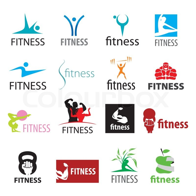800x800 Set Of Vector Logos Fitness And Sports Stock Vector Colourbox