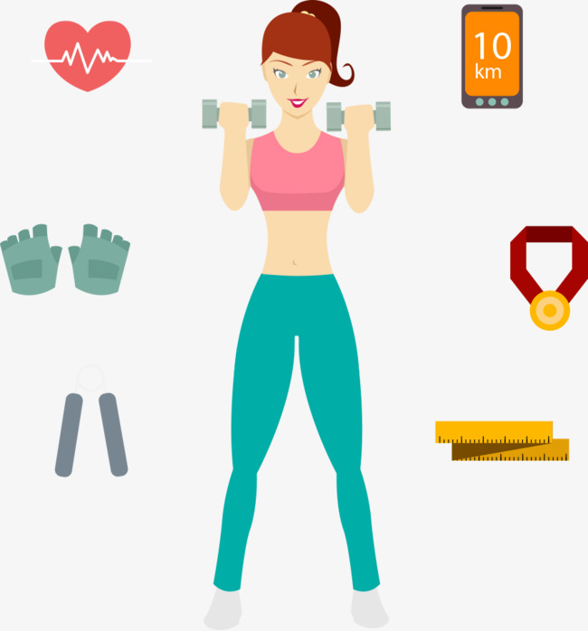 650x698 Vector Fitness Girl, Cartoon Girl, Fitness, Dumbbell Png And