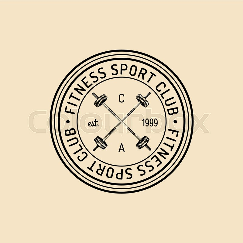 800x800 Vector Fitness Logo. Hand Sketched Athletic Barbell Illustration