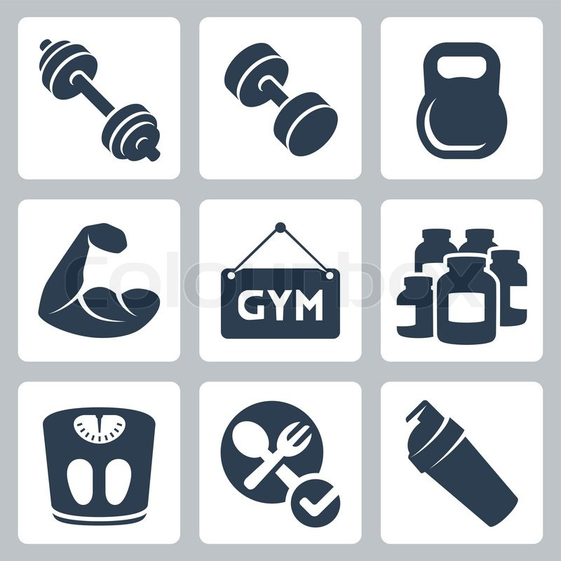 800x800 Vector Isolated Bodybuildingfitness Icons Set Stock Vector