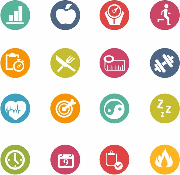 600x582 Fitness Icons Free Vector In Adobe Illustrator Ai ( .ai