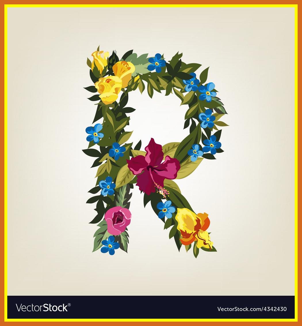1050x1130 Marvelous Letter Flower Capital Alphabet Colorful Font Vector