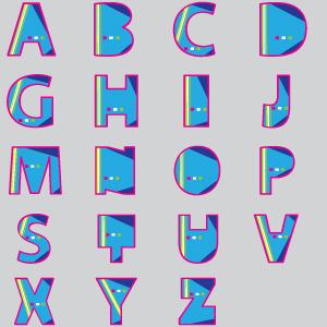 300x300 Blue Fat Font Vector Design