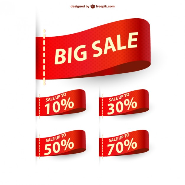 626x626 Big Sale Ribbons Sale Vector Free Download