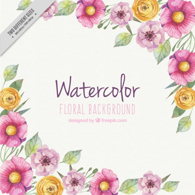 626x625 Ai] Watercolour Floral Background Vector Free Download