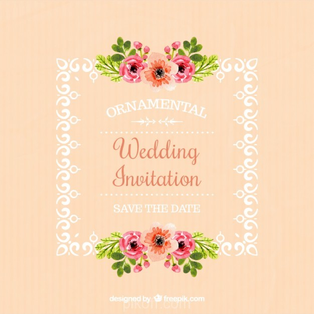 626x626 Ai] Wedding Invitation Of Frame With Floral Details Vector Free