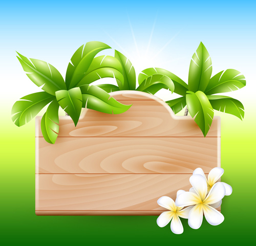 500x480 Coconut Tree And Wooden Boards Vector Free Vector In Adobe
