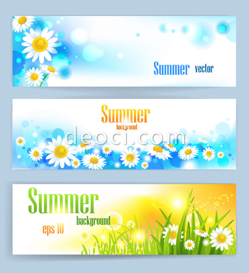 500x549 3 Summer Fresh Flowers And Colorful Banner Vector X Banner Design