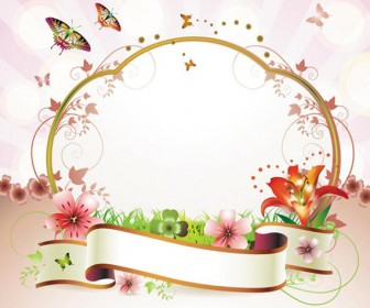 336x280 Ribbon Floral Frame Vector
