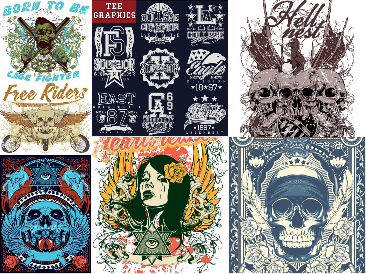 1200x900 T Shirt Designs With Skulls And Other Vector Free Download
