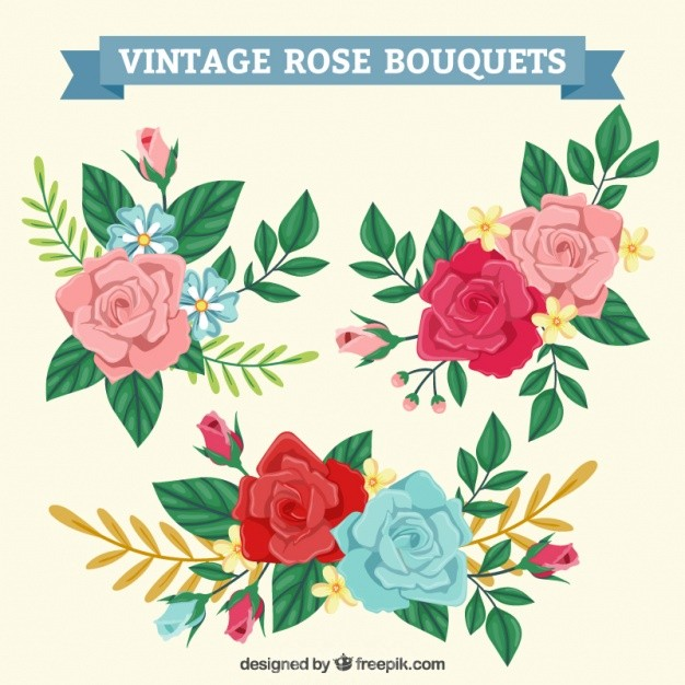626x626 Ai] Bouquets Of Vintage Roses Vector Free Download