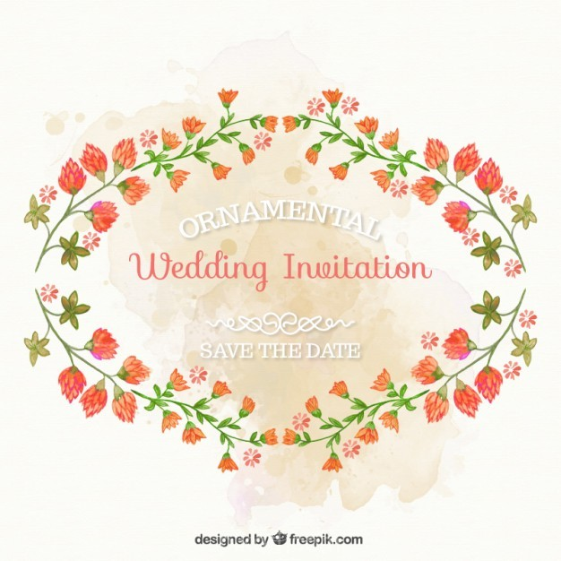 626x626 Ai] Ornamental Wedding Invitation With Hand Painted Flowers Vector