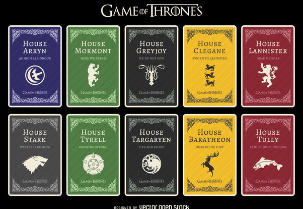 602x414 Game Of Thrones Houses Free Vector Download 369867 Cannypic