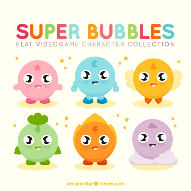 626x626 Set Of Colorful Video Game Characters Vector Free Download