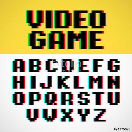 500x500 Video Game Pixel Font With Distortion Stock Image And Royalty