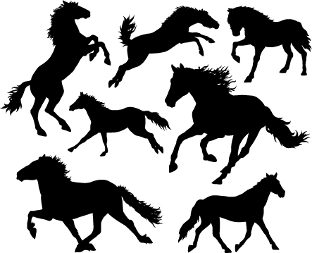 443x359 Running Horse Vector Silhouettes 01 Free Download
