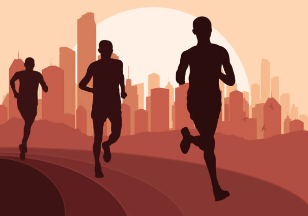 600x421 Set Of Running Silhouettes Vector 04 Free Download