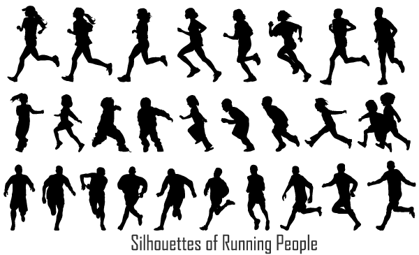 600x365 Free Running People Silhouettes Vector Image 123freevectors