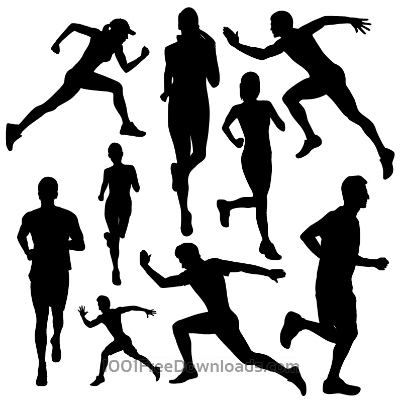 800x800 Free Vectors Running People Silhouettes Design
