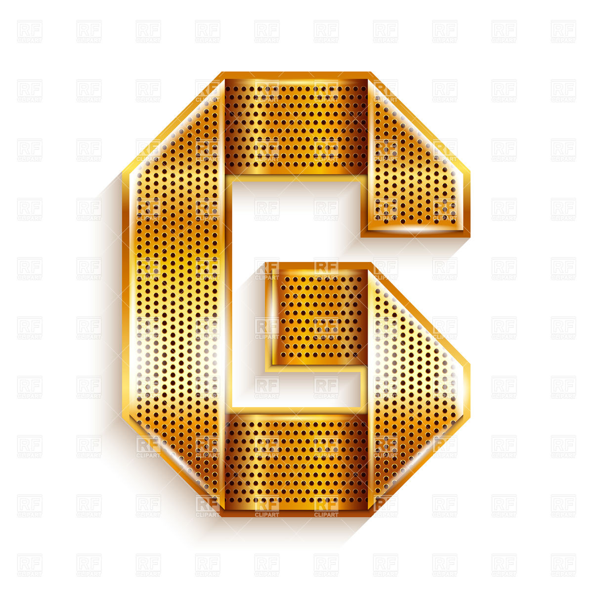1200x1200 Alphabet Made Of Golden Perforated Tape, Letter G Vector Image