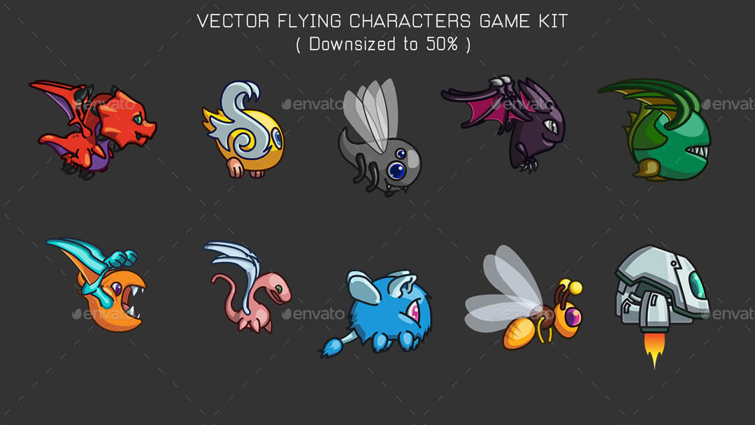1080x608 Vector Game Characters Sprites Bundle