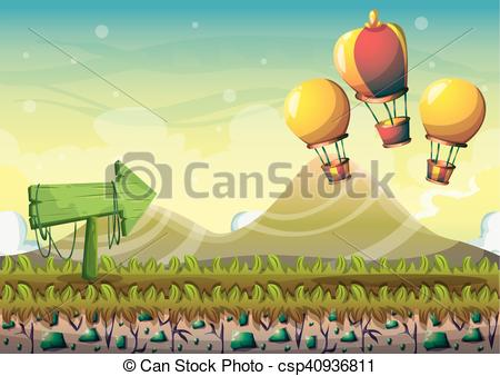 450x338 Cartoon Vector Nature Landscape Background With Separated Layers
