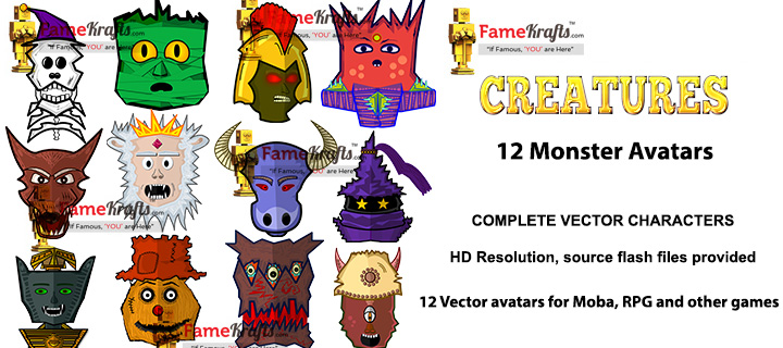720x320 Monster Avatars 2d Vector Art